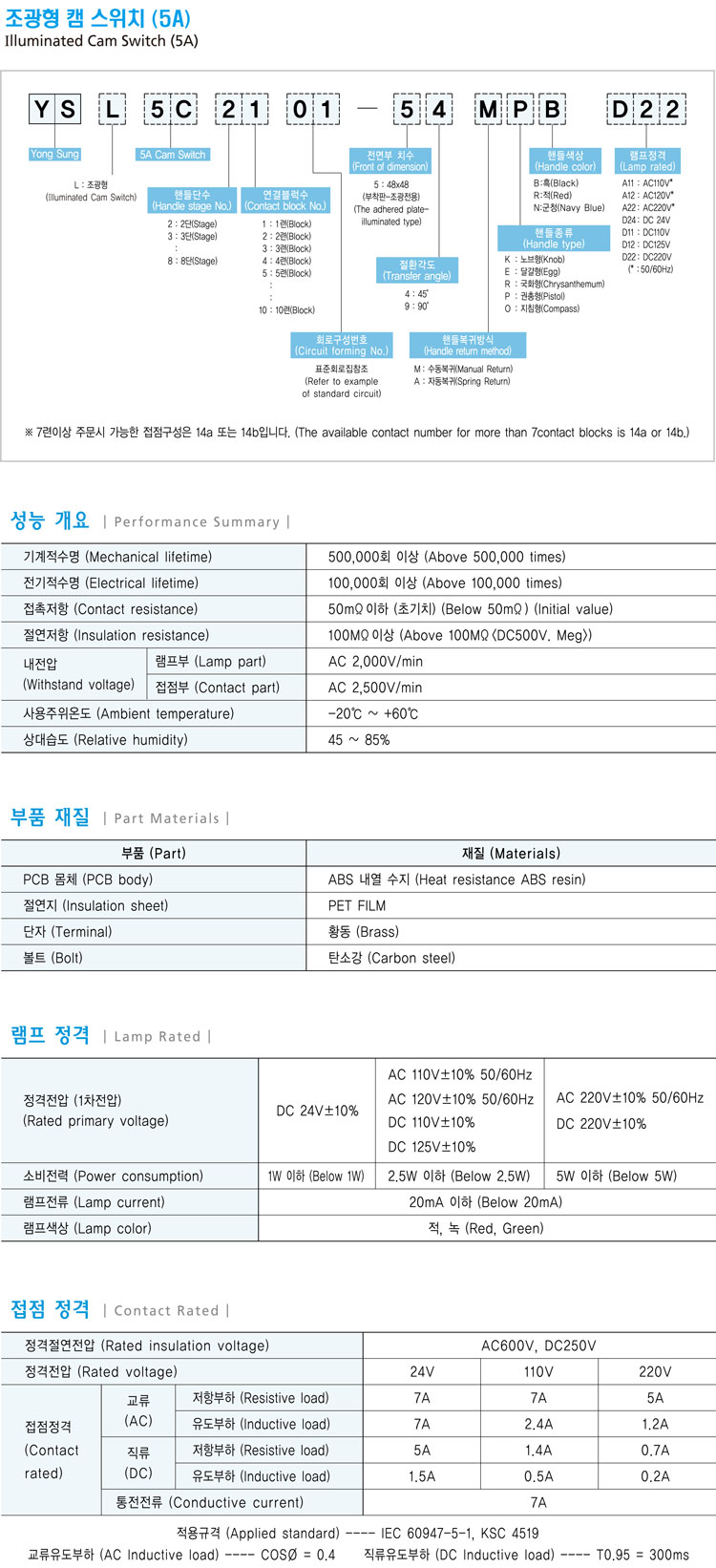 韓國龍聲YSL5CA系列帶燈轉換開關。