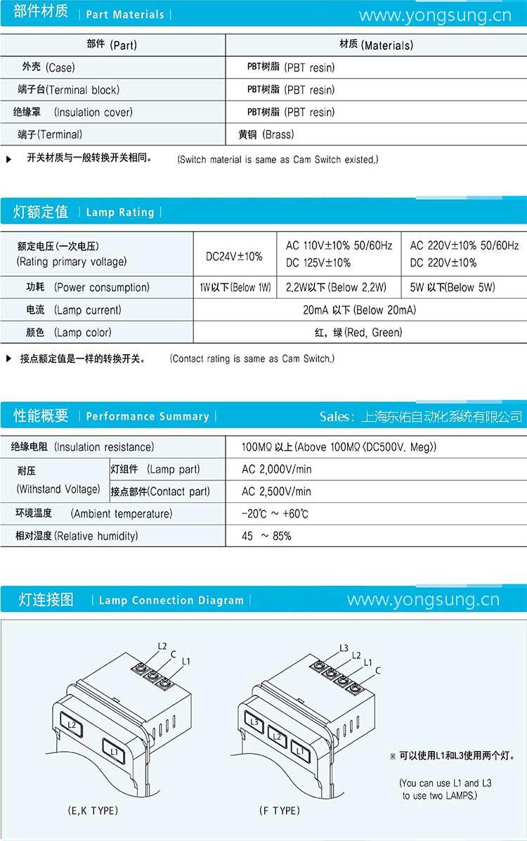 韓國龍聲YONGSUNG ELECTRIC公司的分合閘轉換開關、就地遠方操作開關、解鎖聯鎖鑰匙轉換開關以及遠控近控凸輪開關