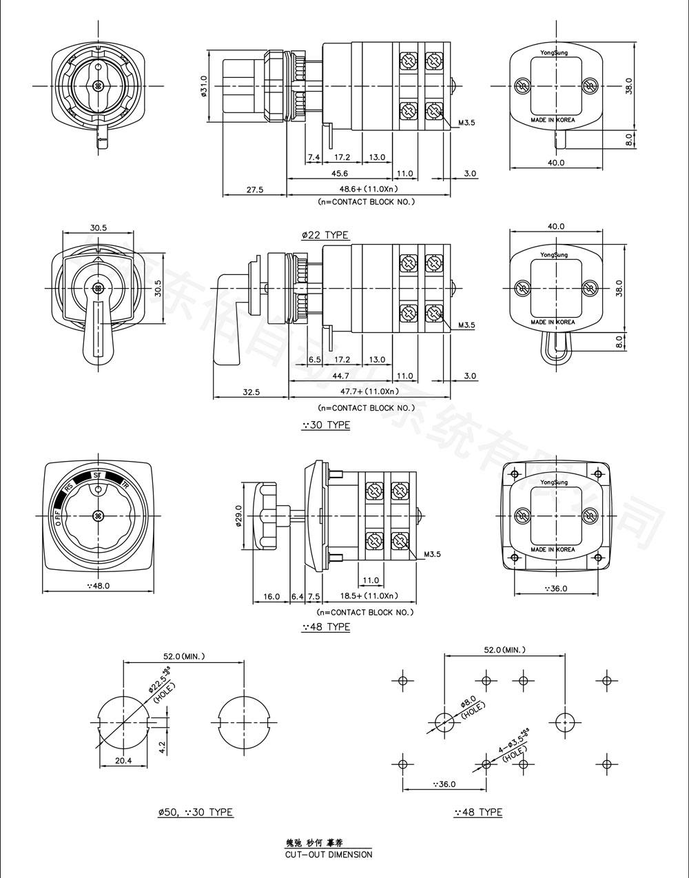 YS-5C(凸輪開關5A)外形圖