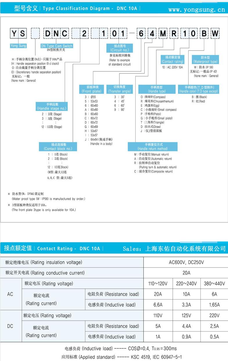 轉換開關選型資料(韓國龍聲YONGSUNG)